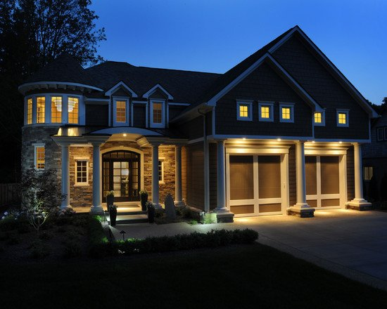 Nice Golden Lighting Ideas Give such an Inviting Effect on this Elegant New Residential Home at Night